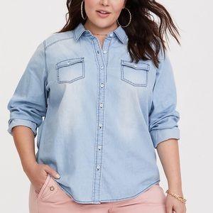 Torrid Light Wash Denim Button-Up Shirt Chambray